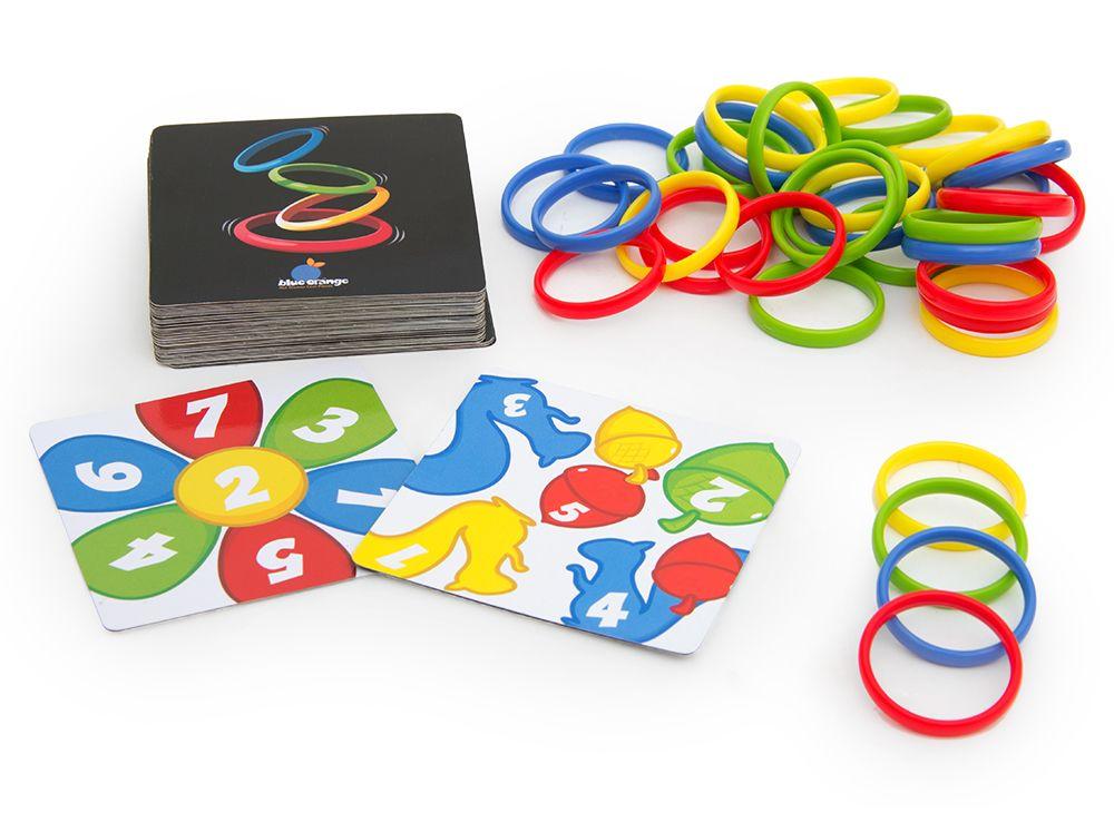 Компоненты настольной игры Разноцветные колечки (Rings Up)