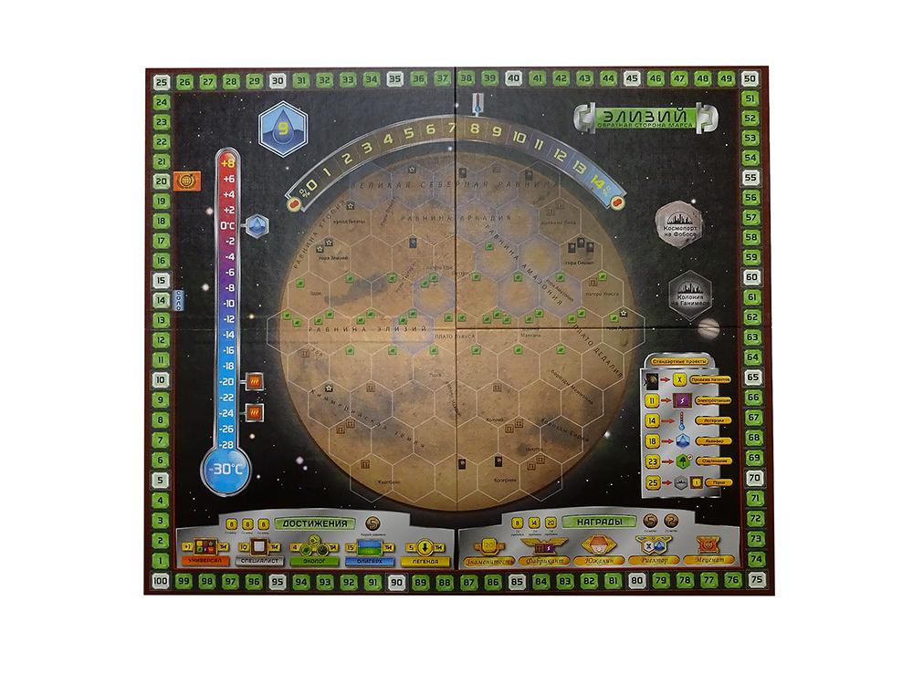 Игровое поле настольной игры Покорение Марса: Эллада и Элизий (Terraforming Mars: Hellas & Elysium, дополнение)