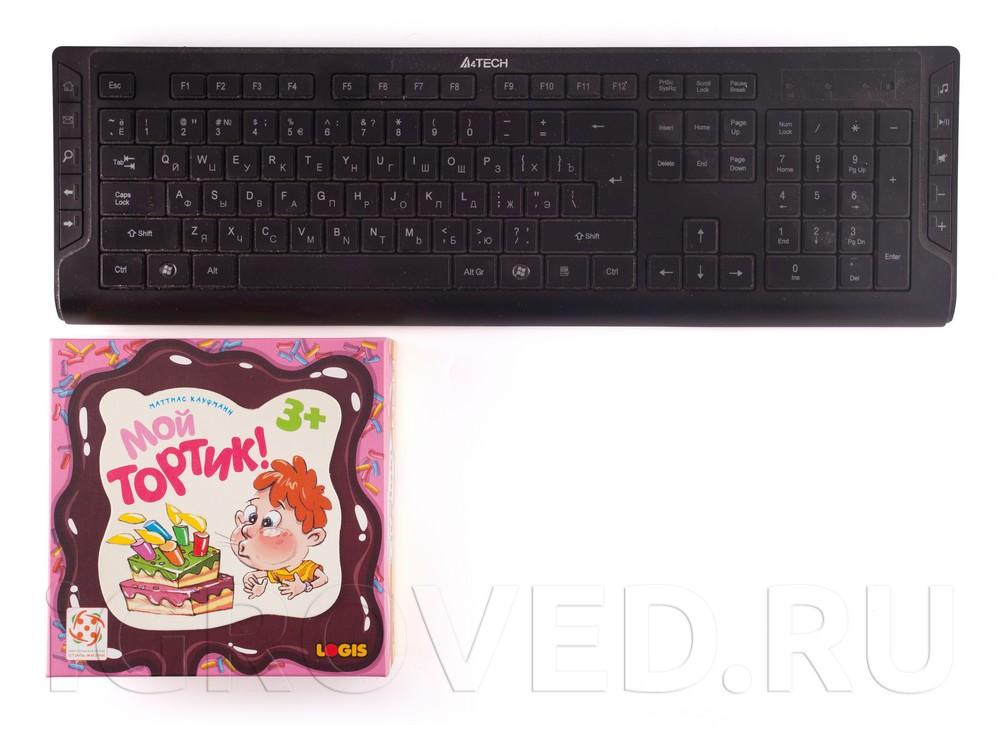 Коробка настольной игры Мой тортик! в сравнении с клавиатурой