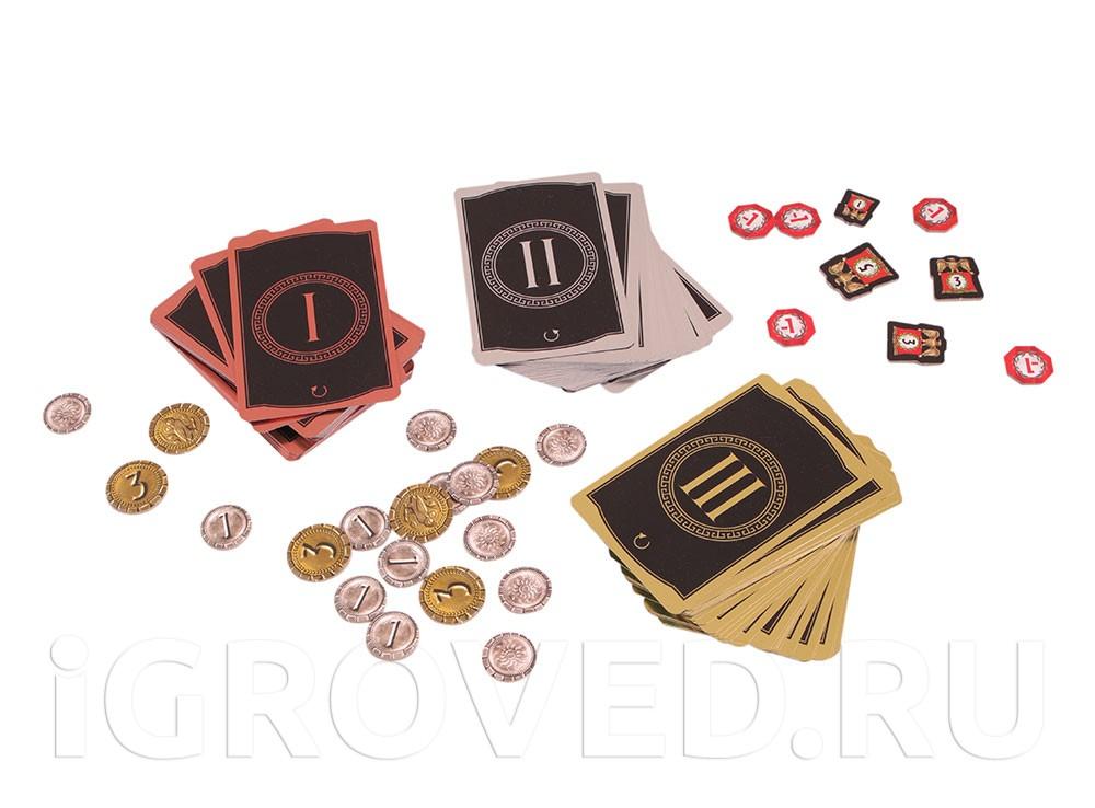 Колоды эпох и монеты настольной игры 7 чудес