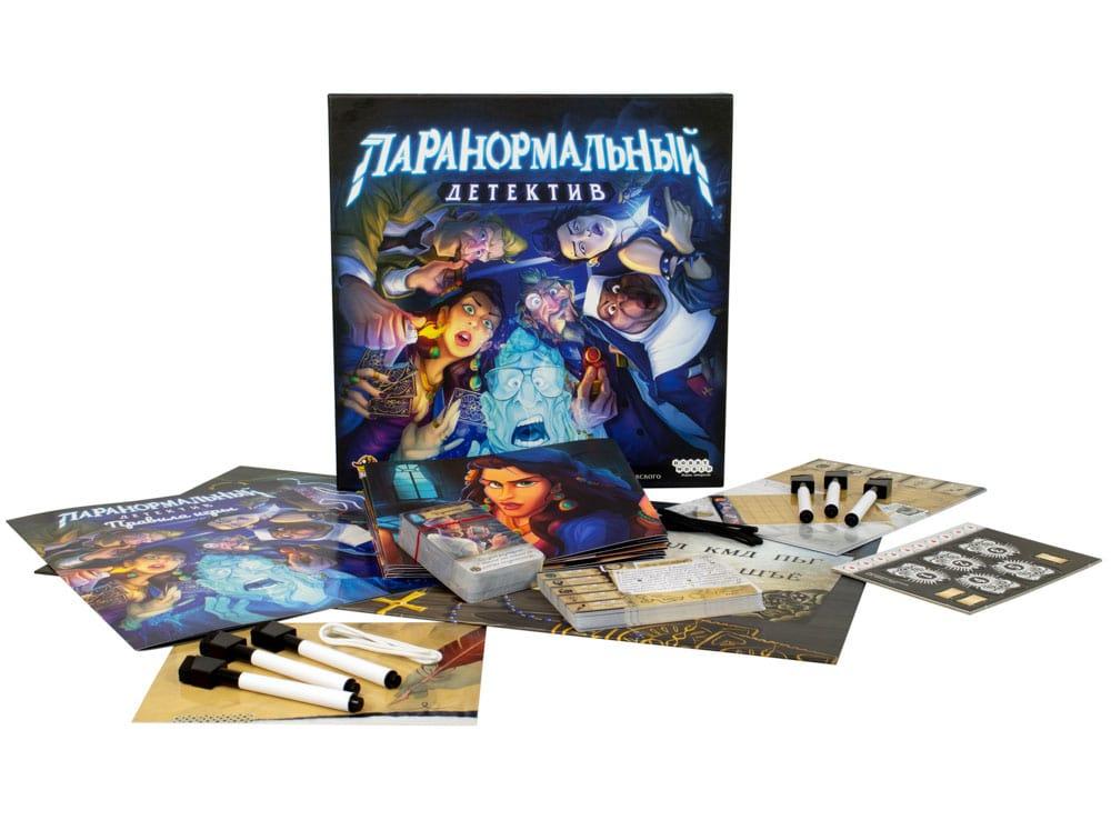 Коробка и компоненты настольной игры Паранормальный детектив