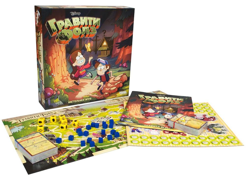 Коробка и компоненты настольной игры Гравити Фолз
