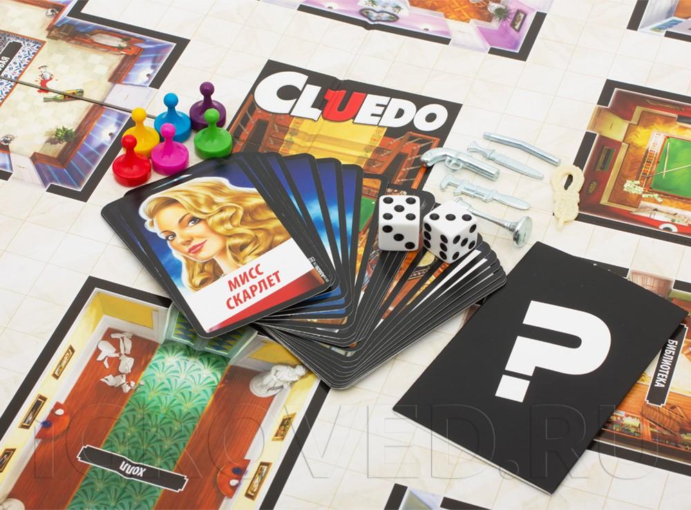 Компоненты настольной игры Клюедо (Cluedo)