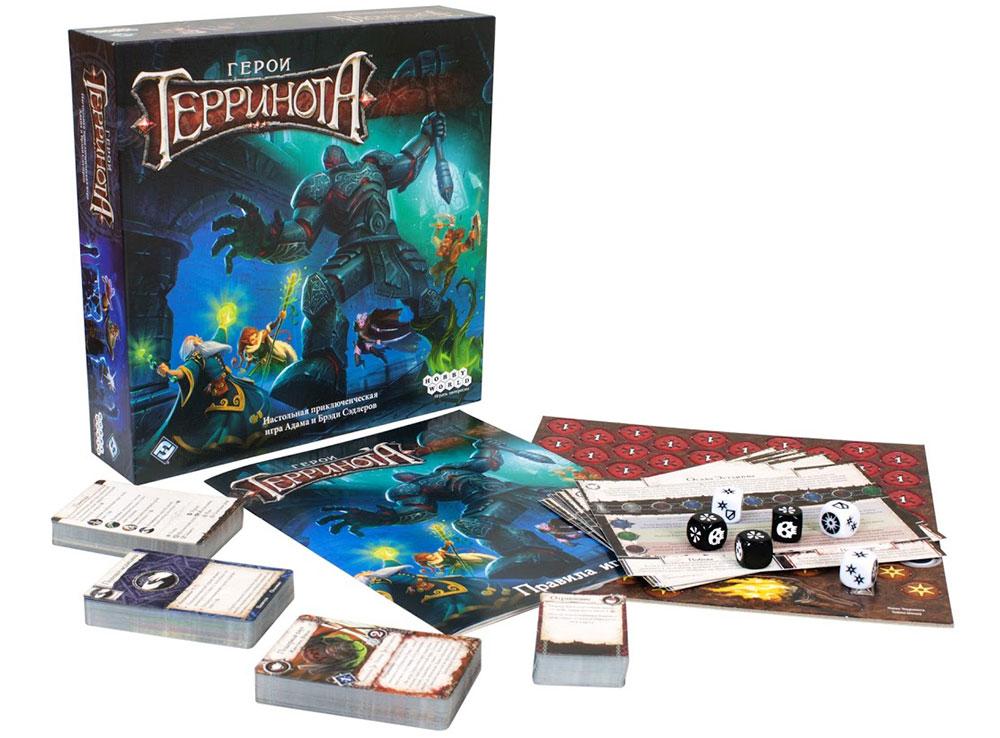Коробка и компоненты настольной игры Герои Терринота