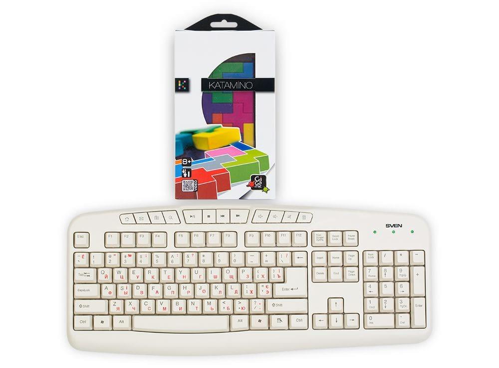 Коробка настольной игры Катамино дорожная (Katamino travel) в сравнении с клавиатурой