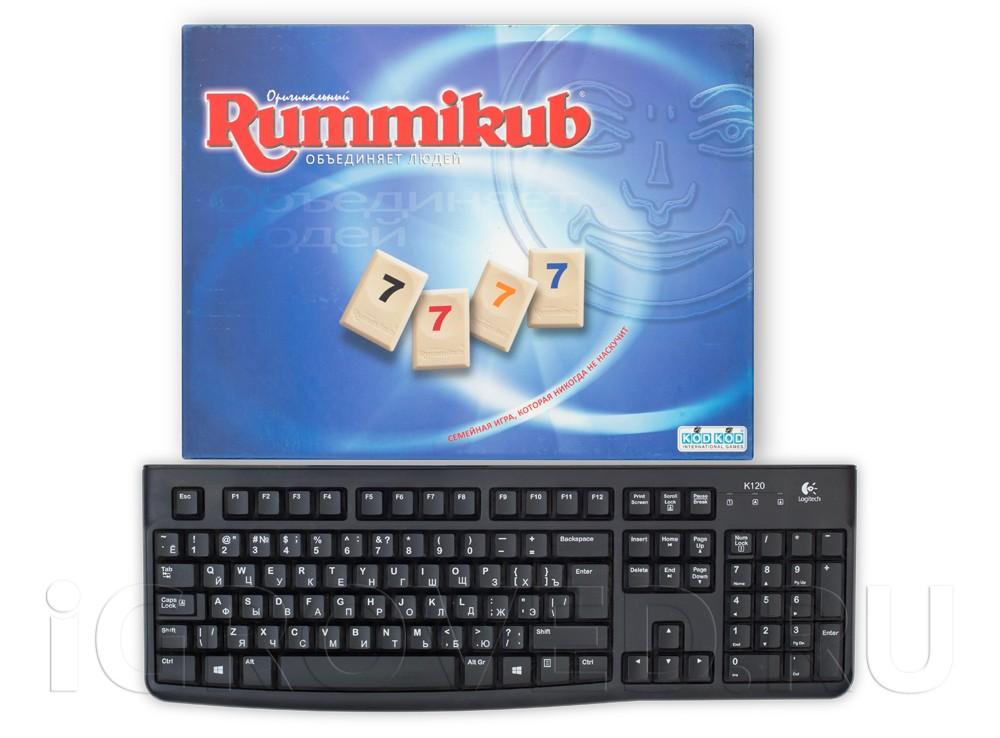 Коробка настольной игры Руммикуб (Rummikub) в сравнении с клавиатурой