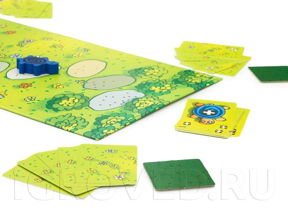 Игроки могут двигать черепашек любого цвета, если сыграть определенную карту. Настольная игра Черепашьи бега