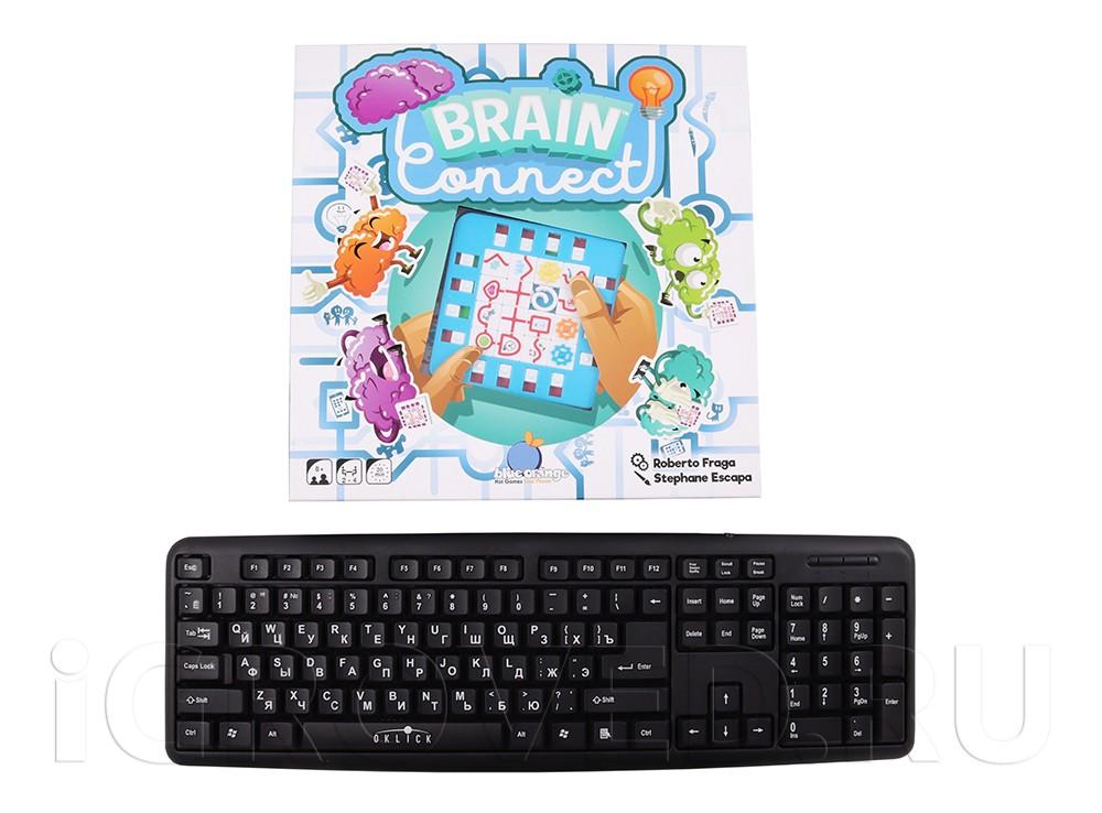 Коробка настольной игры Зарядка для мозга (Brain Connect) в сравнении с клавиатурой