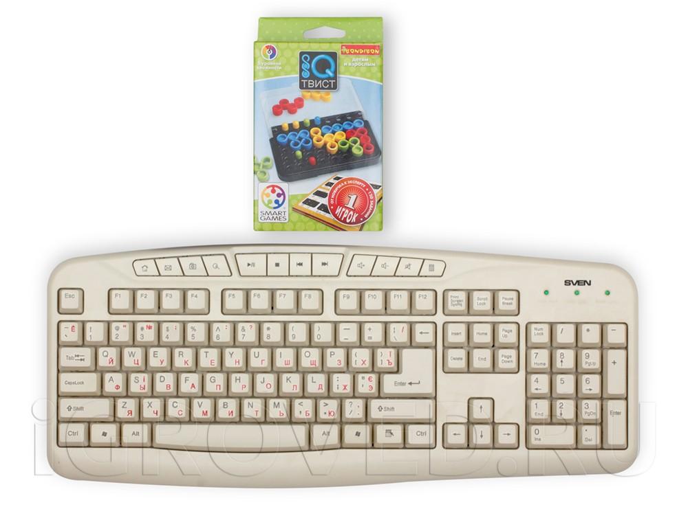 Коробка настольной игры-головоломки IQ-Твист по сравнению с клавиатурой