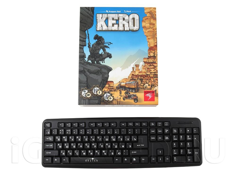 Коробка настольной игры Керо в сравнении с клавиатурой