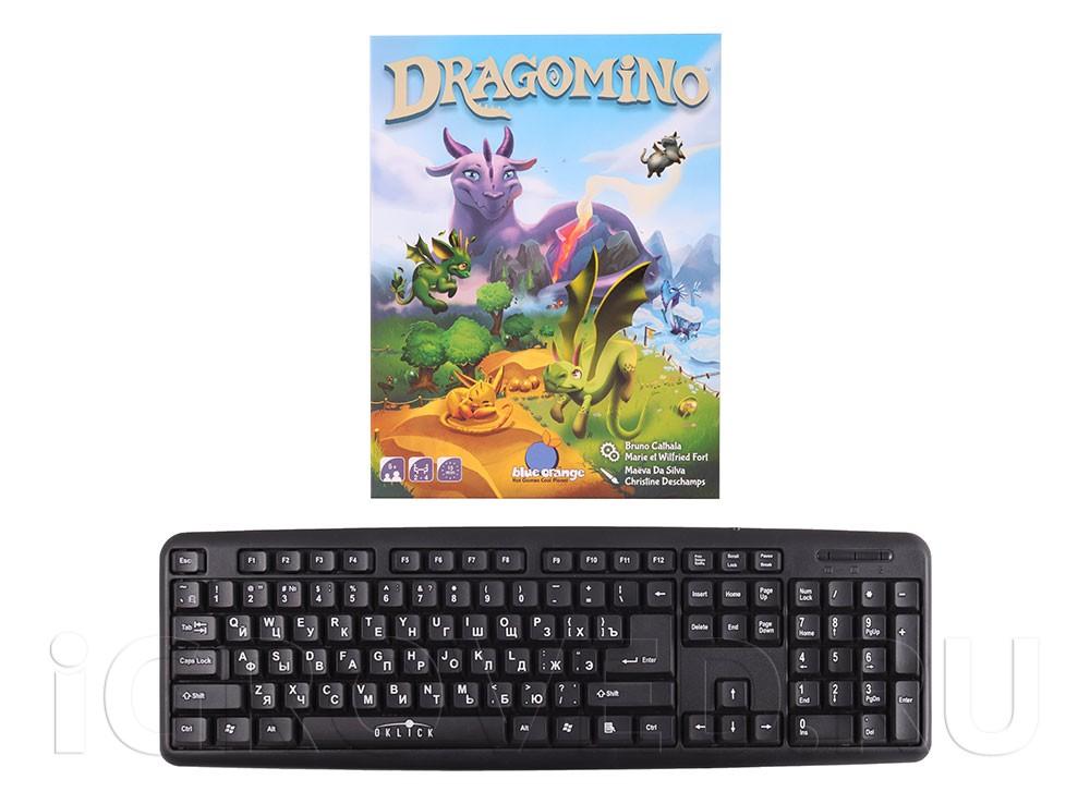 Коробка настольной игры Драконье королевство в сравнении с клавиатурой