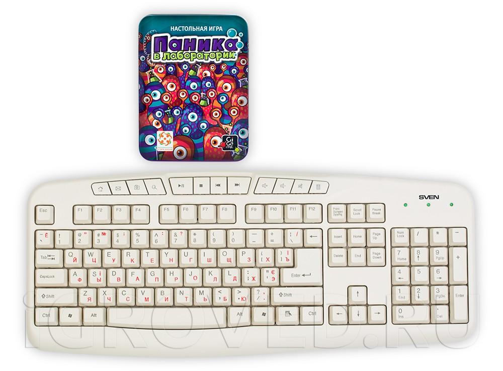 Коробка настольной игры Паника в лаборатории (PanicLab) по сравнению с клавиатурой