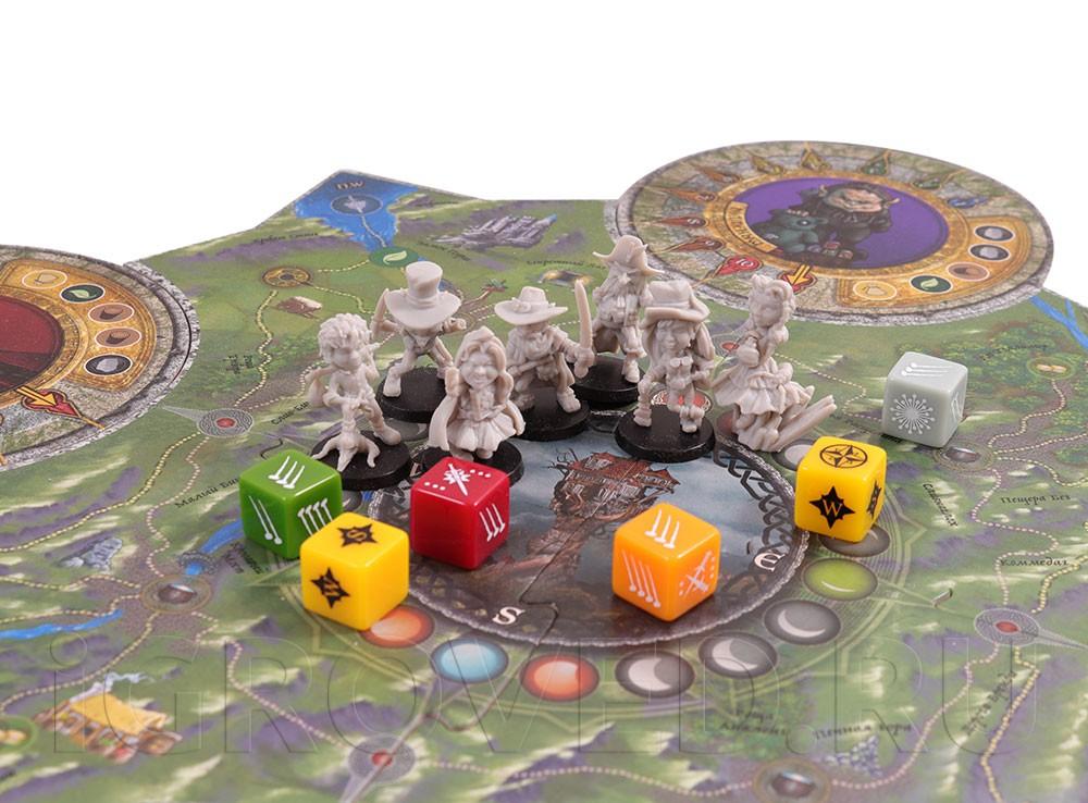 Игровое поле и компоненты настольной игры Морн