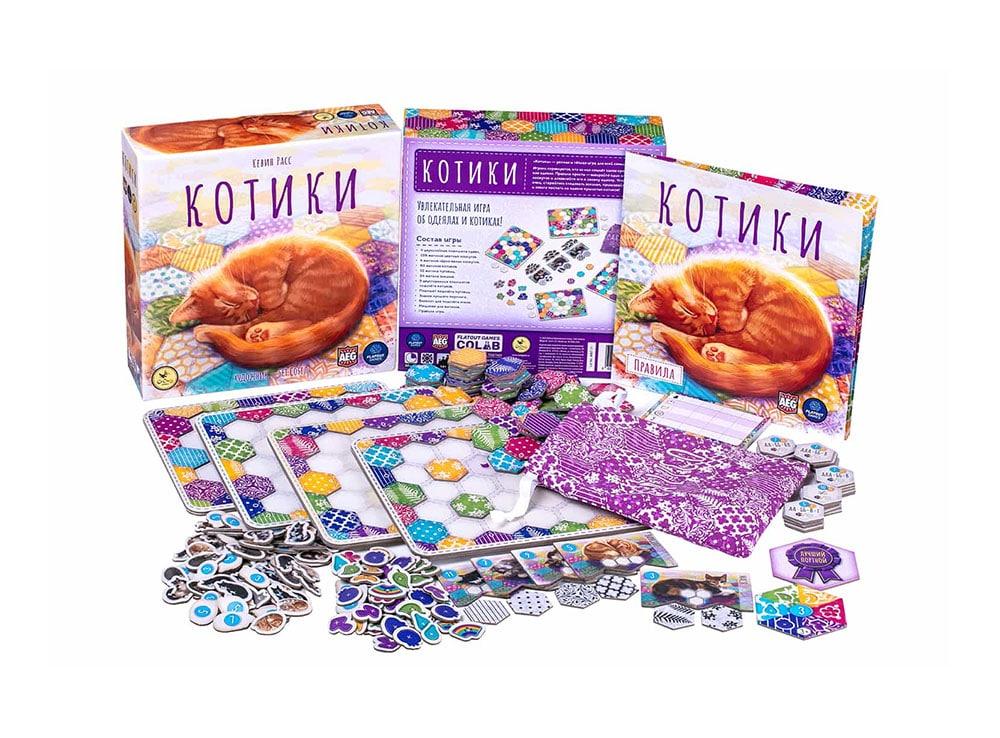 Коробка и компоненты настольной игры Котики