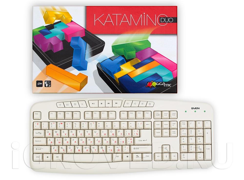 Коробка настольной игры Катамино ДУО (Katamino Duo) в сравнении с клавиатурой