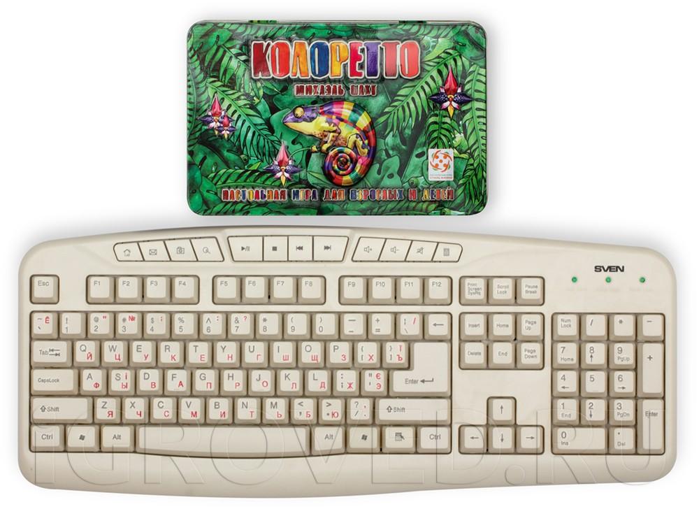 Коробка настольной игры Колоретто Делюкс в сравнении с клавиатурой