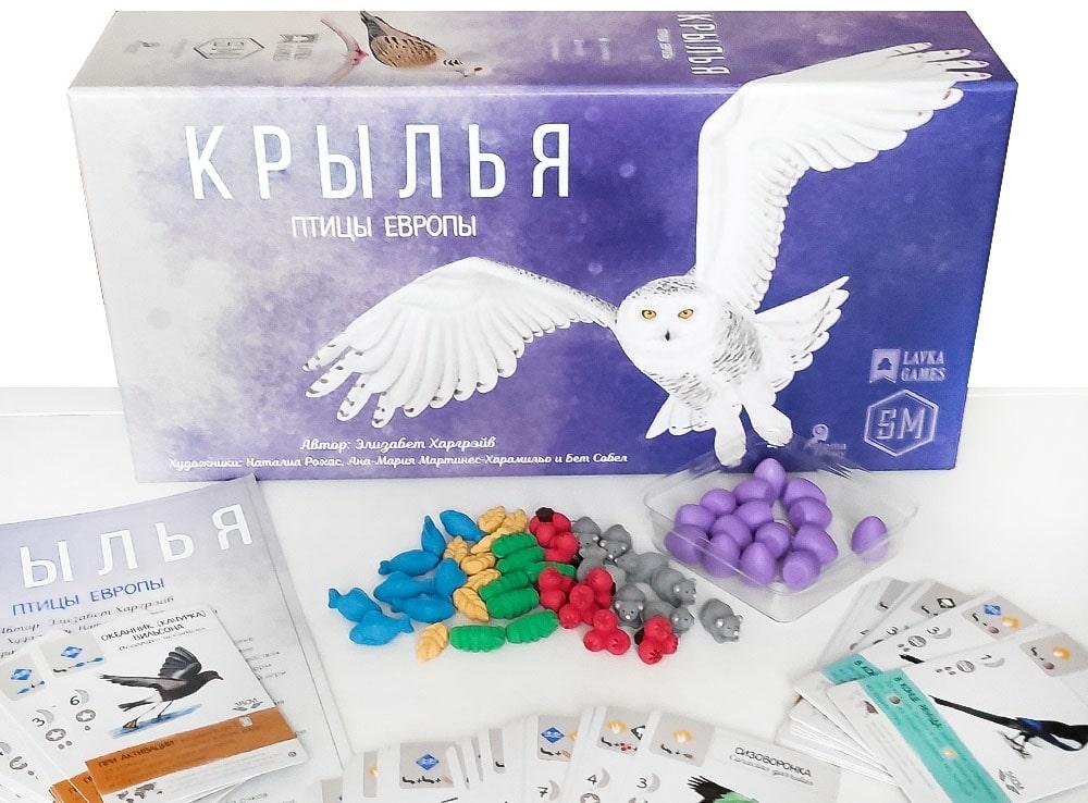 Коробка и компоненты настольной игры Крылья. Птицы Европы