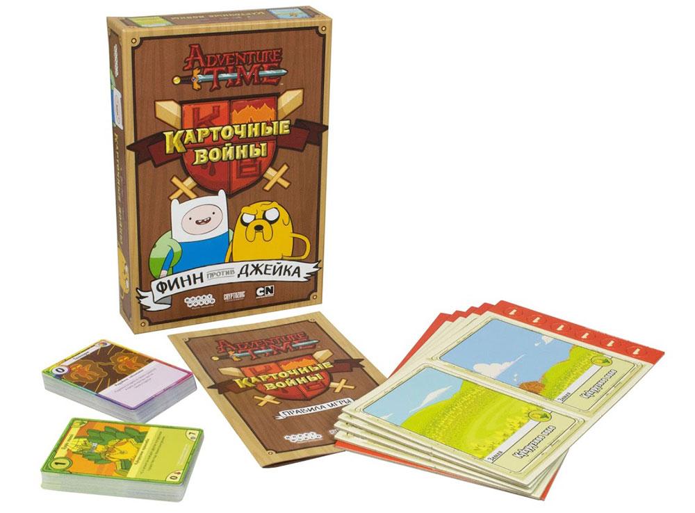 Коробка и компоненты настольной игры Время приключений. Карточные войны: Финн против Джейка