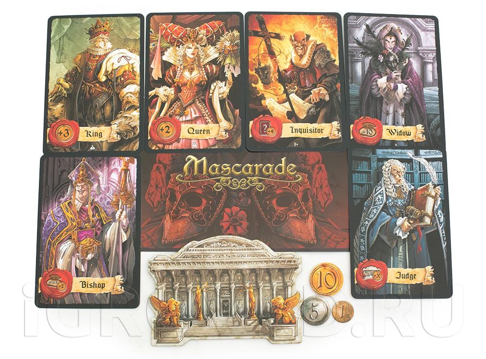 Компоненты настольной игры Маскарад (Mascarade)
