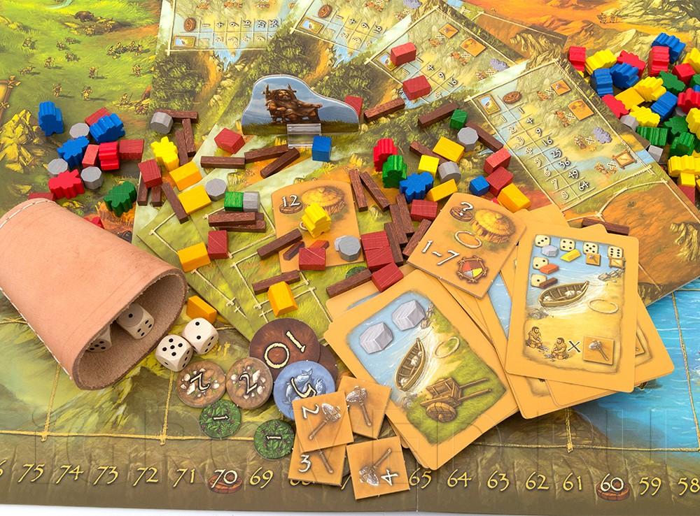 Компоненты настольной игры Каменный век (Stone Age)