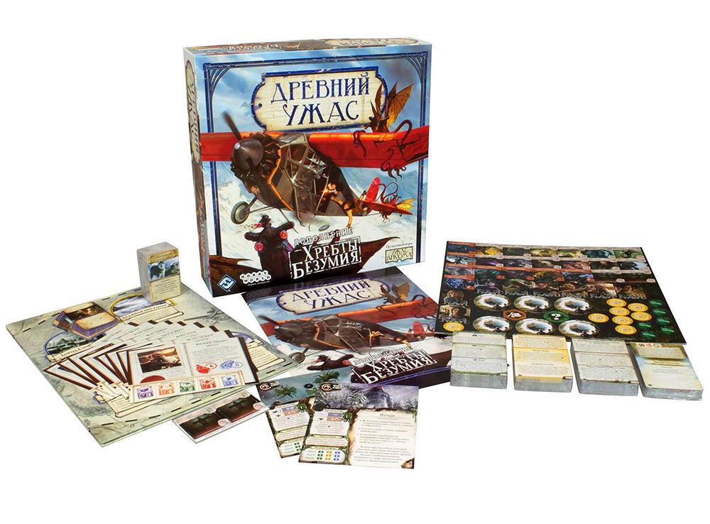 Компоненты настольной игры Древний Ужас: Хребты Безумия (дополнение)