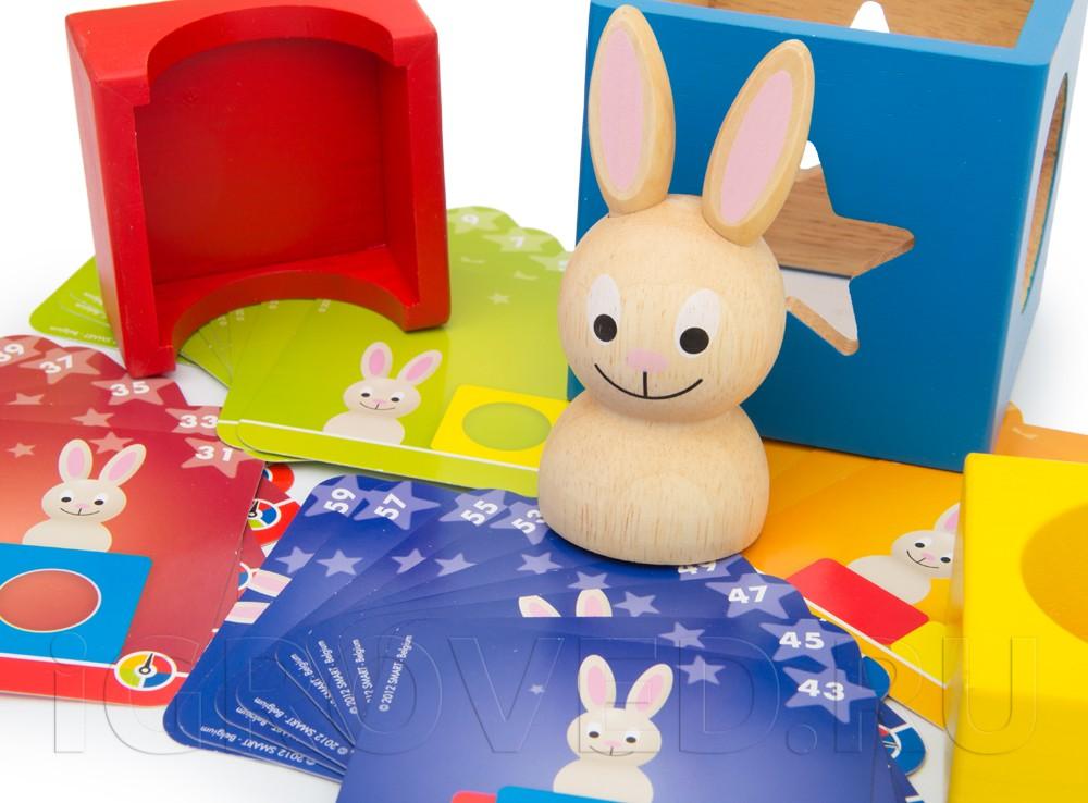 Компоненты настольной игры-головоломки Застенчивый кролик