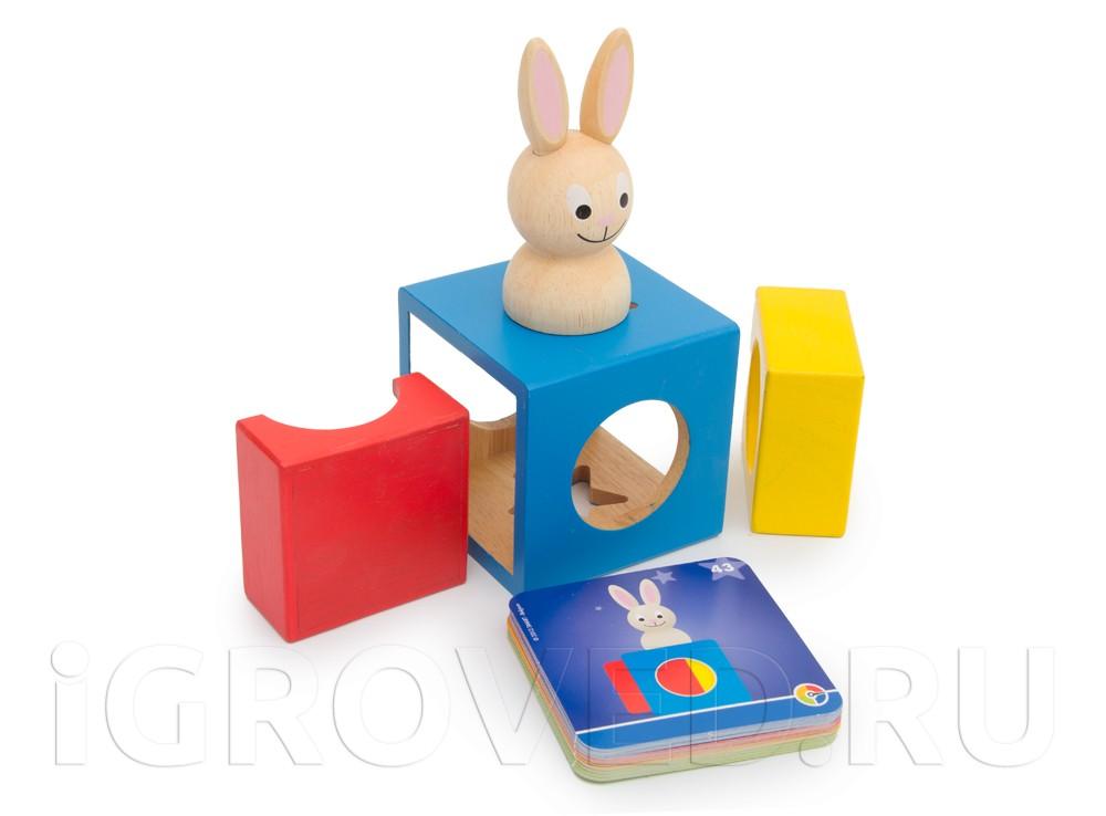 Посмотрите на карточку задания и составьте такую же комбинацию на столе. Настольная игра-головоломка Застенчивый кролик