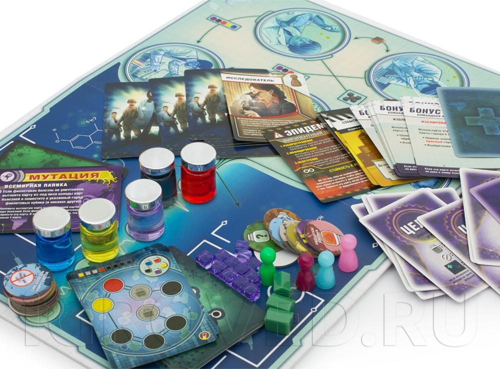 Компоненты настольной игры Пандемия: В лаборатории