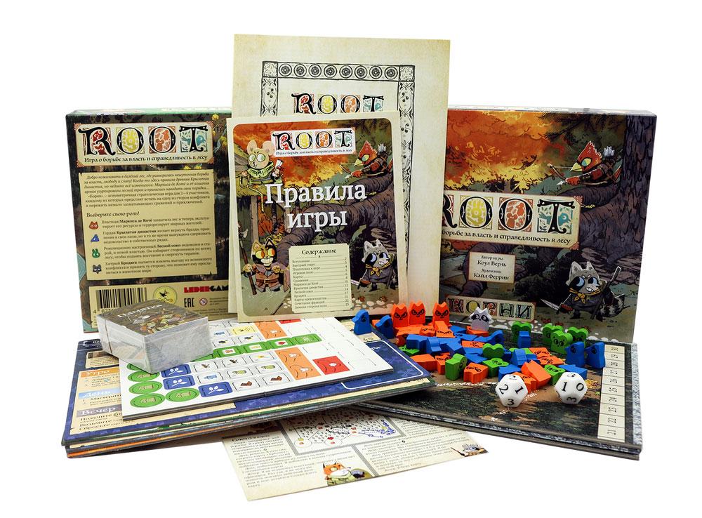Коробка и компоненты настольной игры Корни (Root)