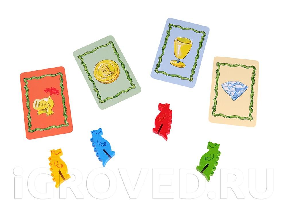 У каждого игрока по 6 карточек с символами своего цвета.  Настольная игра Дракон Диего