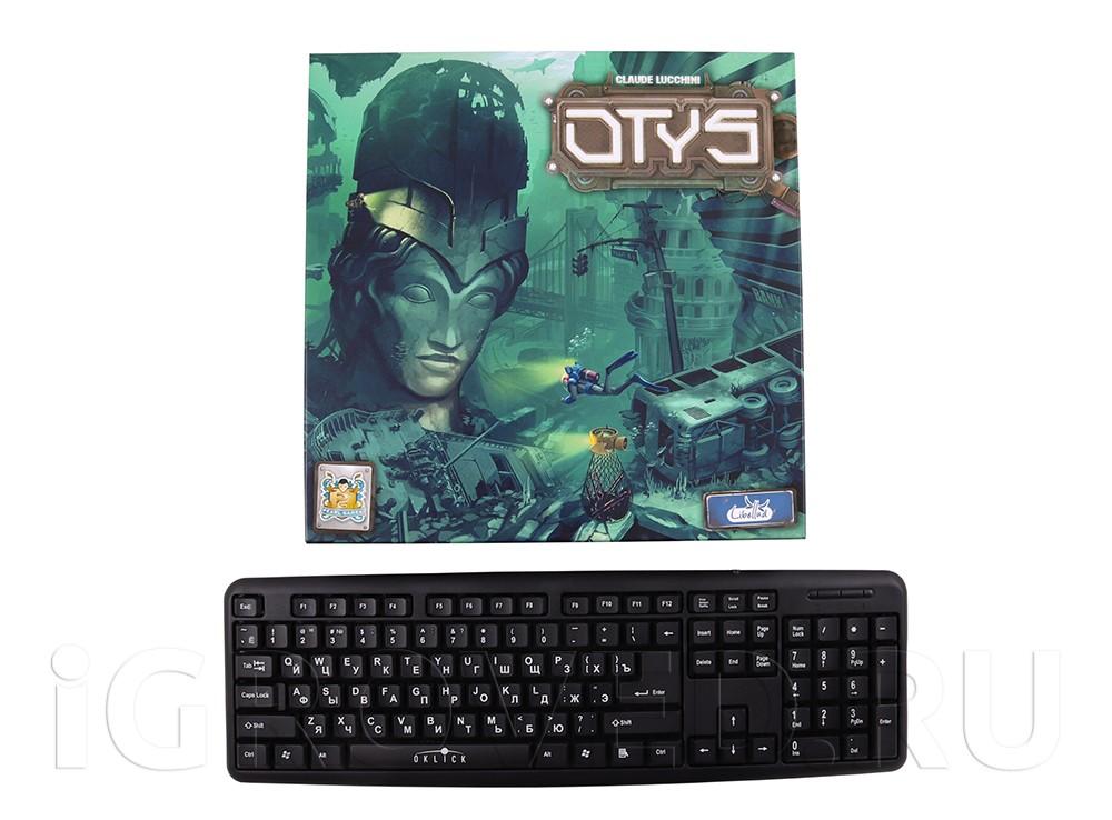 Коробка настольной игры Отис (Otys) в сравнении с клавиатурой