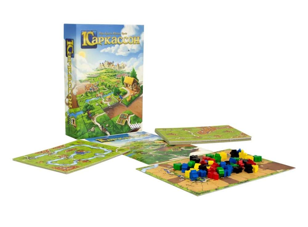 Коробка и компоненты настольной игры Каркассон