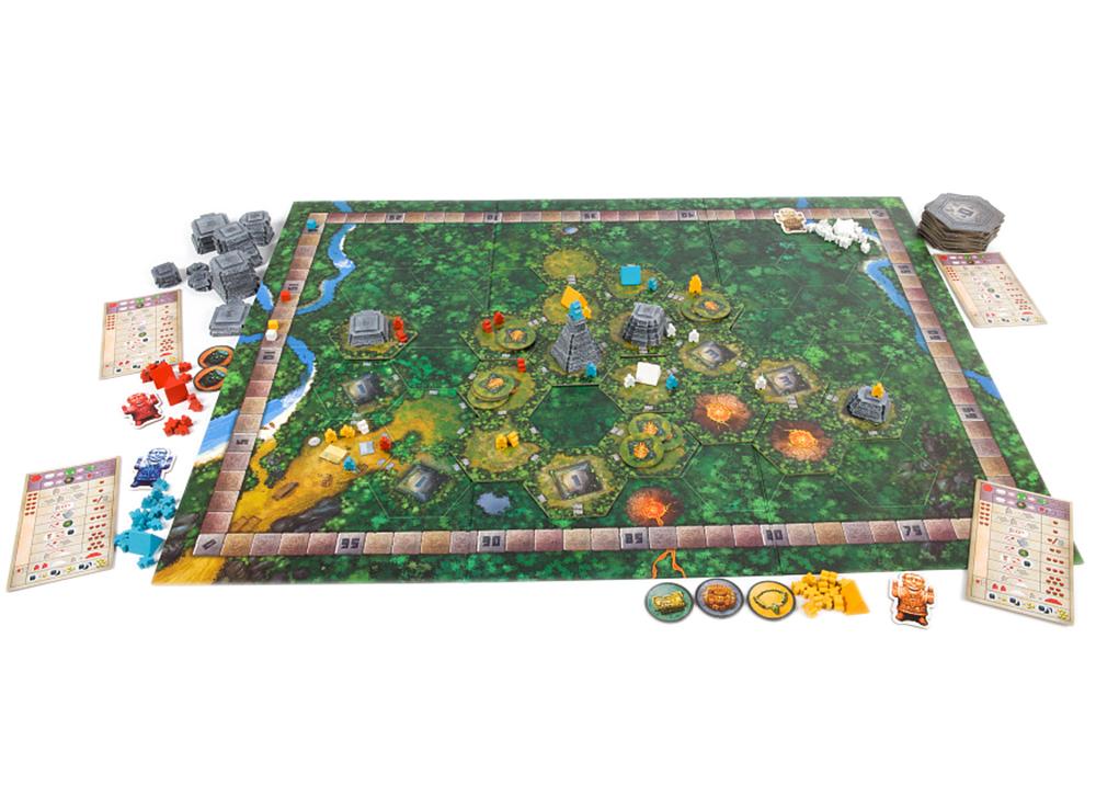 Игровое поле и компоненты настольной игры Тикаль (Tikal)
