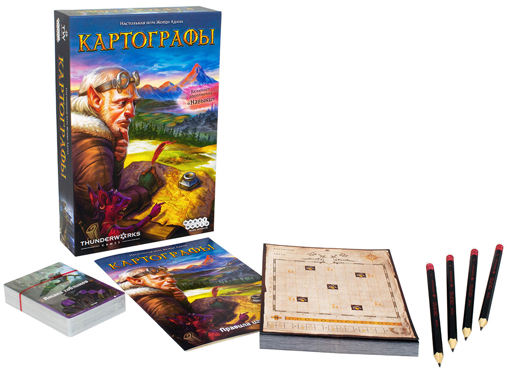 Коробка и компоненты настольной игры Картографы