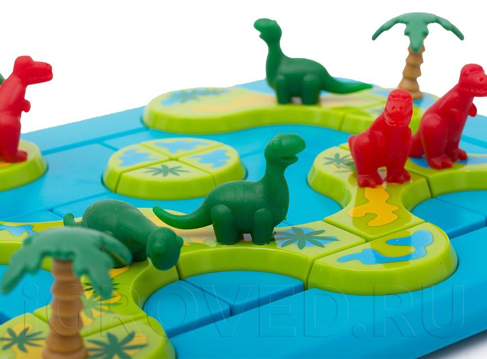Фигурки динозавров, игровое поле, острова и пальмы