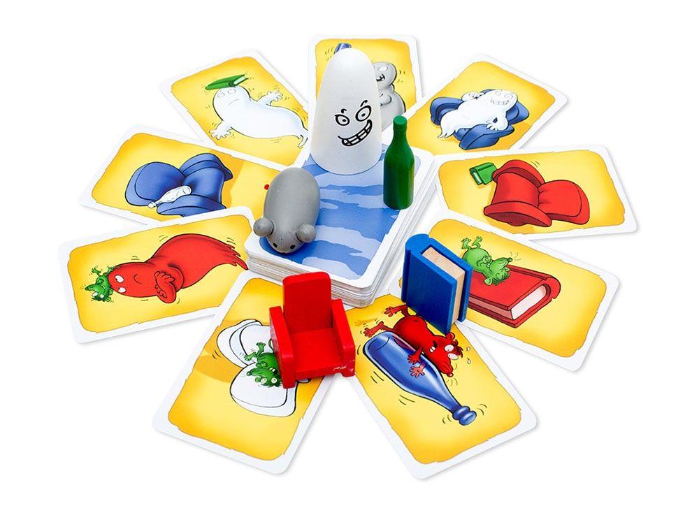 Состав настольной игры Барабашка: карты, фигурки, правила.