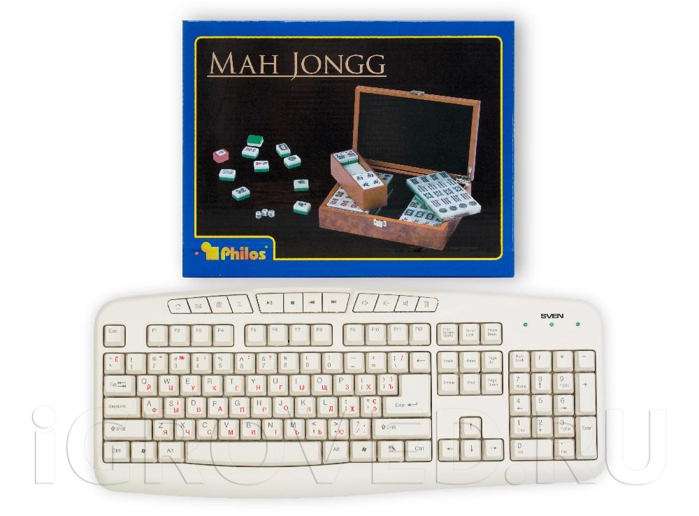 Коробка настольной игры Маджонг (Mahjong) в сравнении с клавиатурой