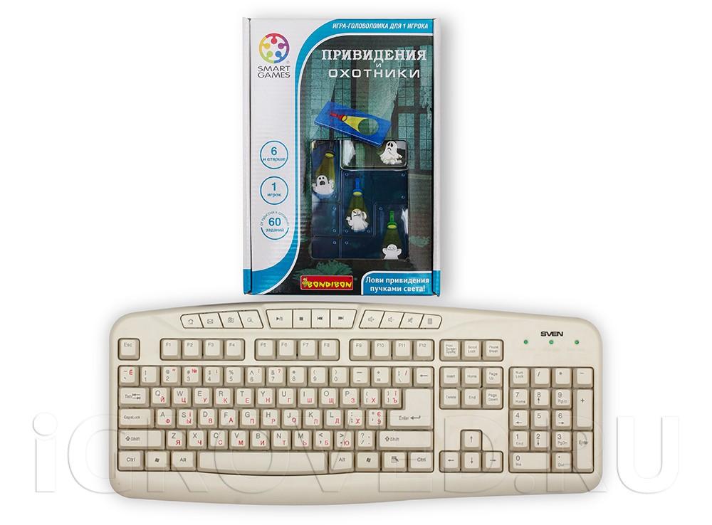 Коробка настольной игры Охотники и Привидения по сравнению с клавиатурой