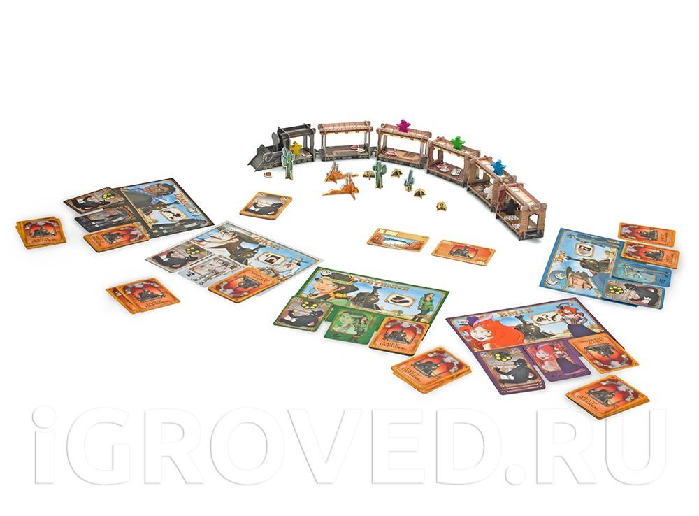 Игровое поле - это объемная модель паровоза с вагонами, по которой перемещаются фишки бандитов. Настольная игра Кольт Экспресс (Colt Express)