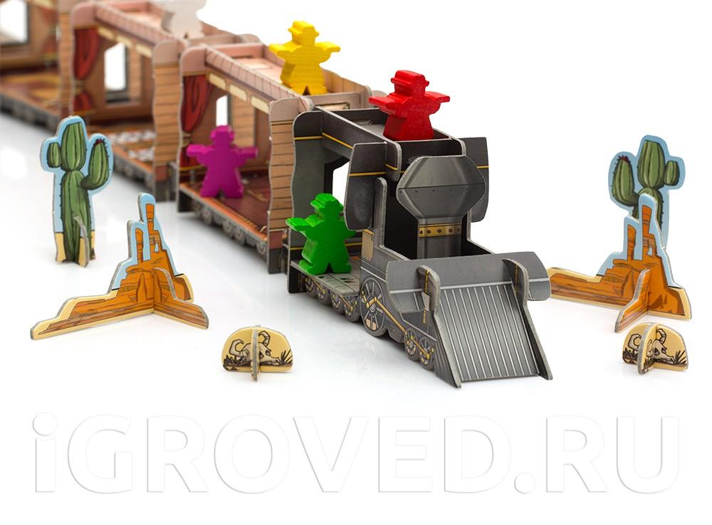 Если вам удастся добраться до самого локомотива, то там вас ждет сейф с большим количеством денег. Настольная игра Кольт Экспресс (Colt Express)