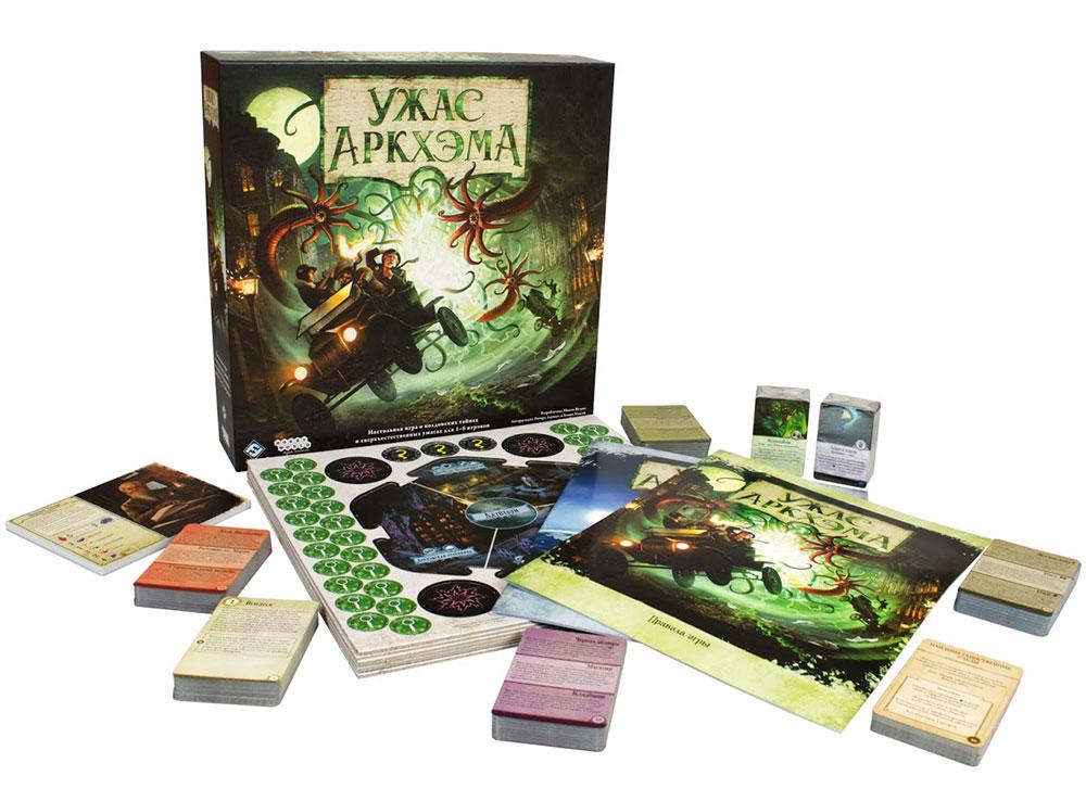 Коробка и компоненты настольной игры Ужас Аркхэма (Arkham Horror)