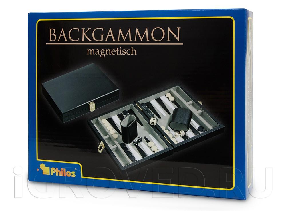 Коробка настольной игры Нарды магнитные мини (черно-белые)