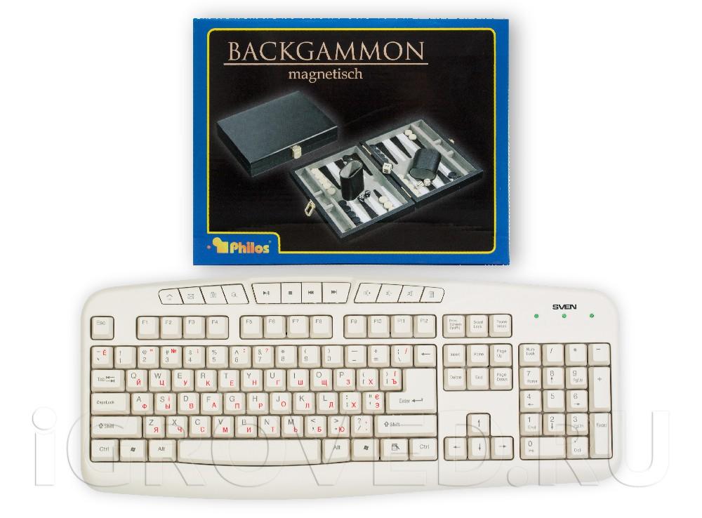 Коробка настольной игры Нарды магнитные мини (черно-белые) в сравнении с клавиатурой