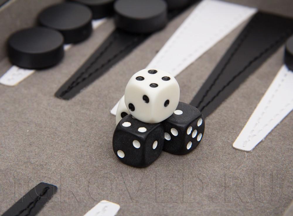 Кубики настольной игры Нарды магнитные мини (черно-белые)
