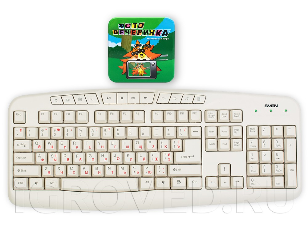 Коробка настольной игры Фото вечеринка (Photo Party) в сравнении с клавиатурой