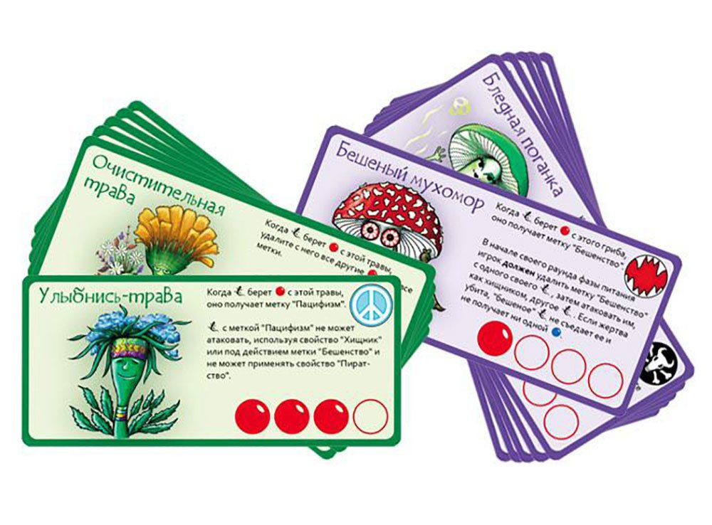 Компоненты настольной игры Эволюция. Трава и грибы (дополнение)