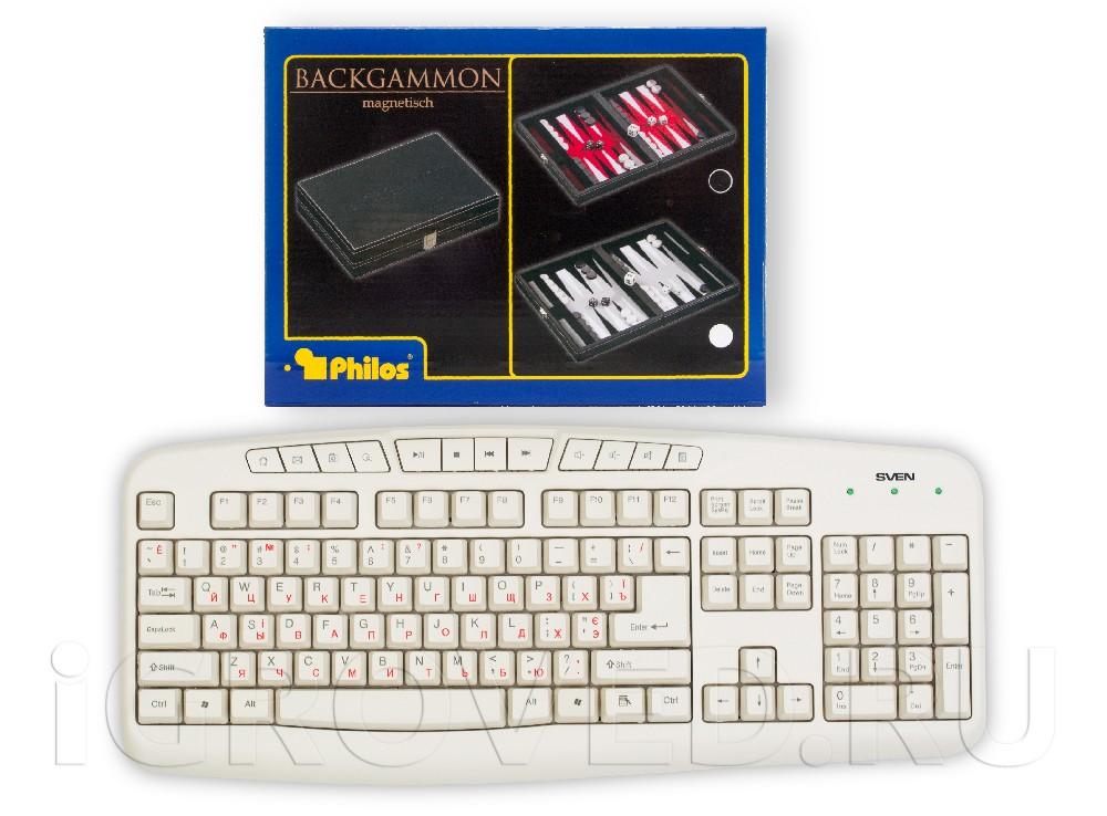Коробка настольной игры Нарды магнитные мини (красные) в сравнении с клавиатурой