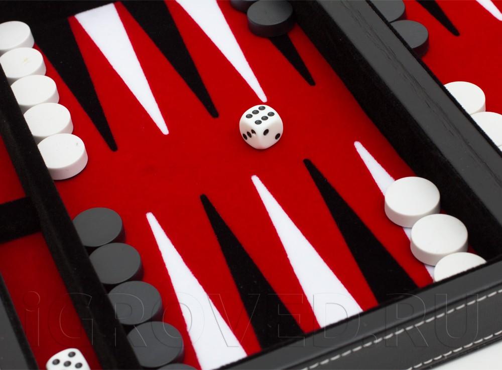 Игровое поле настольной игры Нарды магнитные мини (красные)