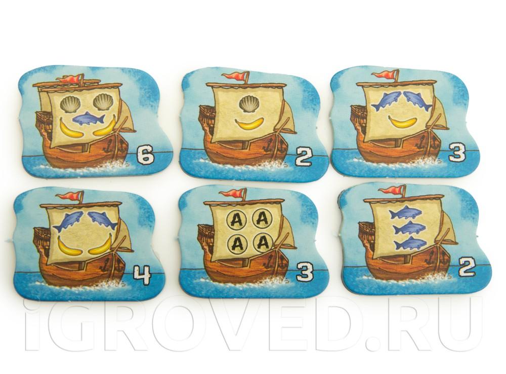 Компоненты настольной игры Каркассон. Южные моря