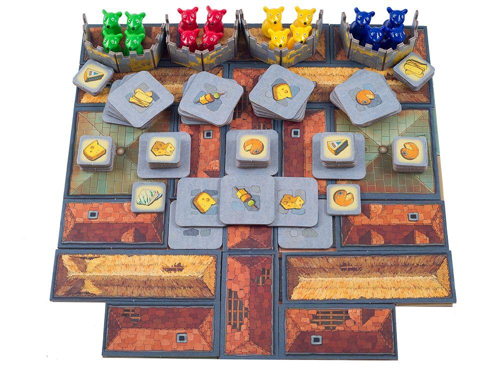 Компоненты настольной игры Сырный Замок
